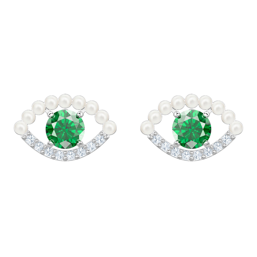 Luckily Pierced Earrings, Green, Rhodium plated