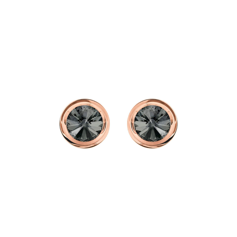 Swarovski Round Cuff Links, Gray, Rose Gold Plating