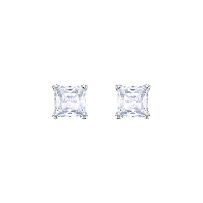 Swarovski Attract Stud Pierced Earrings, White, Rhodium Plating