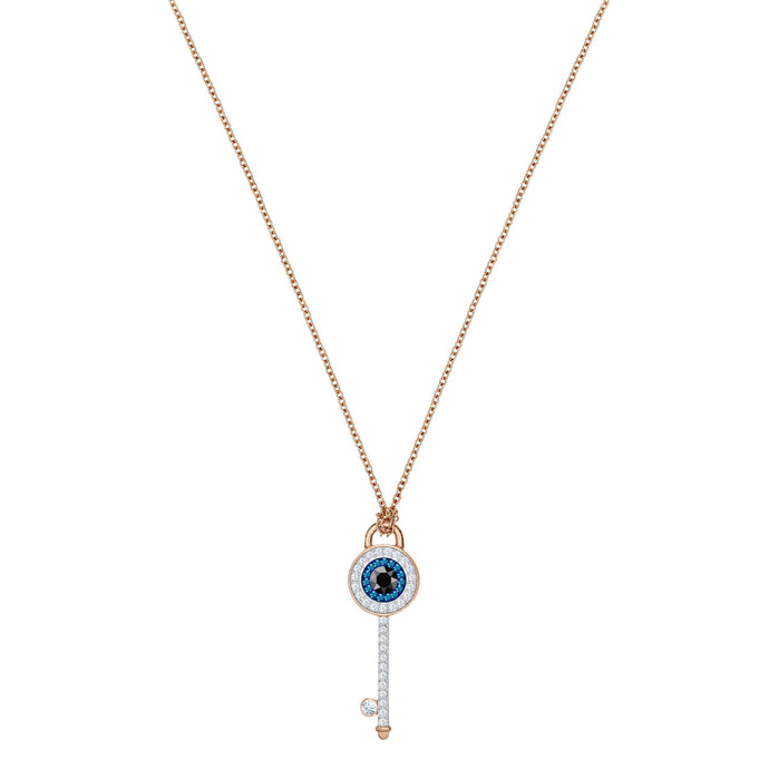 Swarovski Duo Evil Eye Pendant, Multi-Colored, Rose Gold Plating