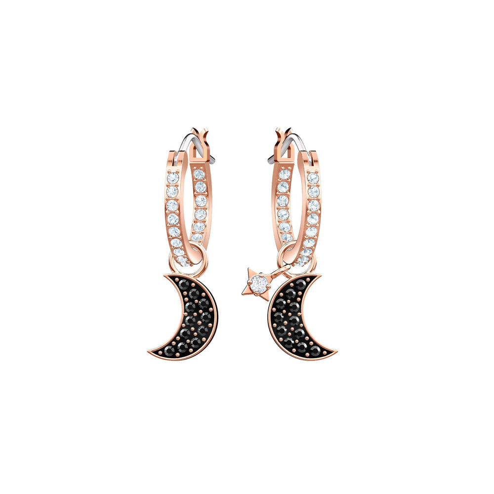 Swarovski Duo Moon Hoop Pierced Earrings, Black, Rose Gold Plating