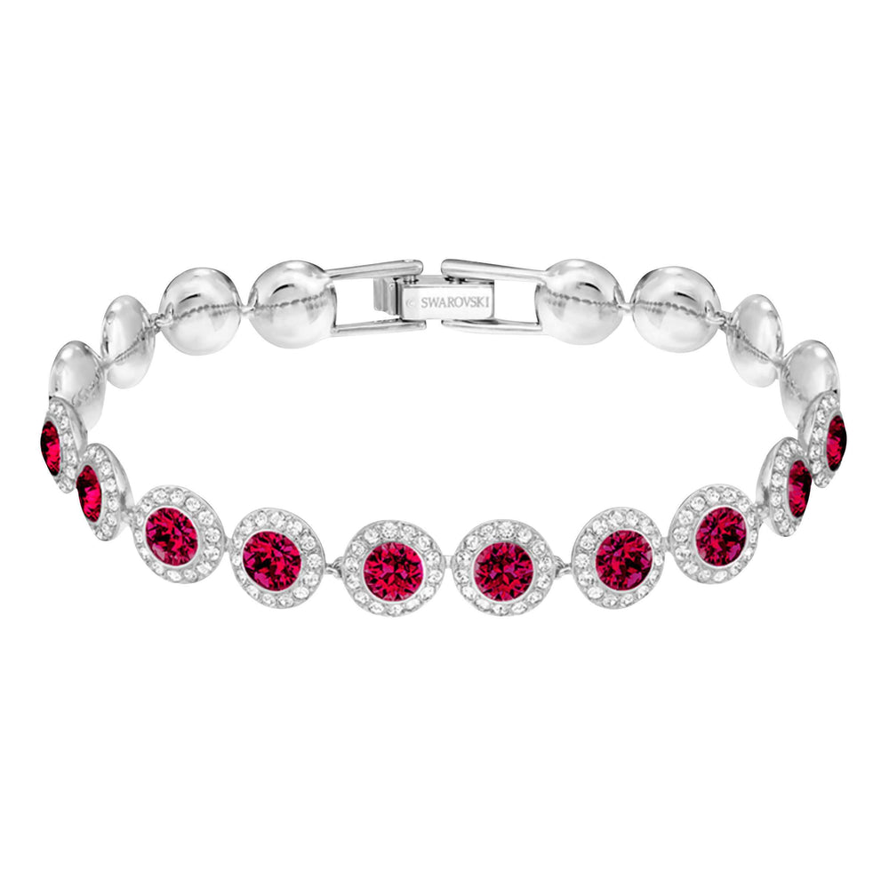 Angelic Bracelet, Medium, Red, Rhodium Plating