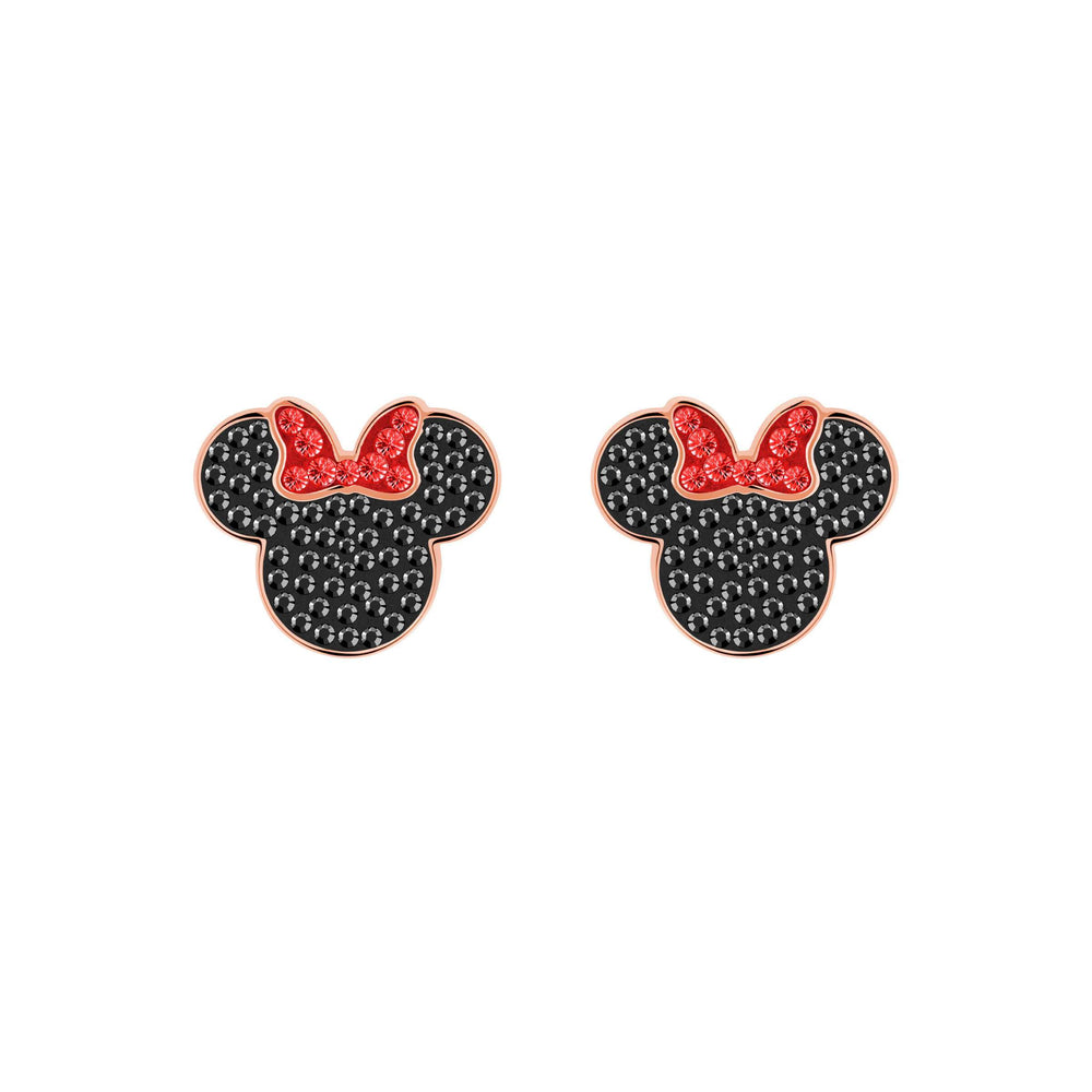 Mickey & Minnie Pierced Earrings, Black, Rose Gold Plating