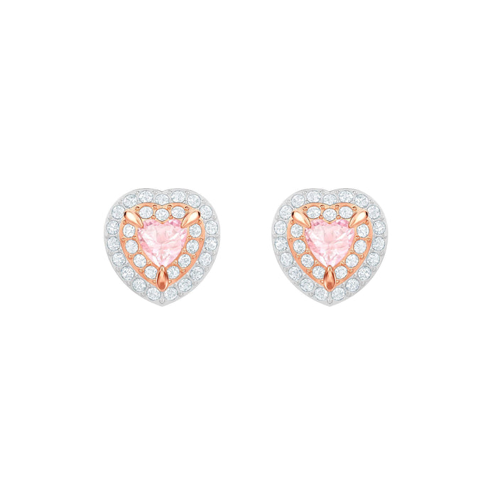 Swarovski One Stud Pierced Earrings, Multi-colored, Rose gold plating