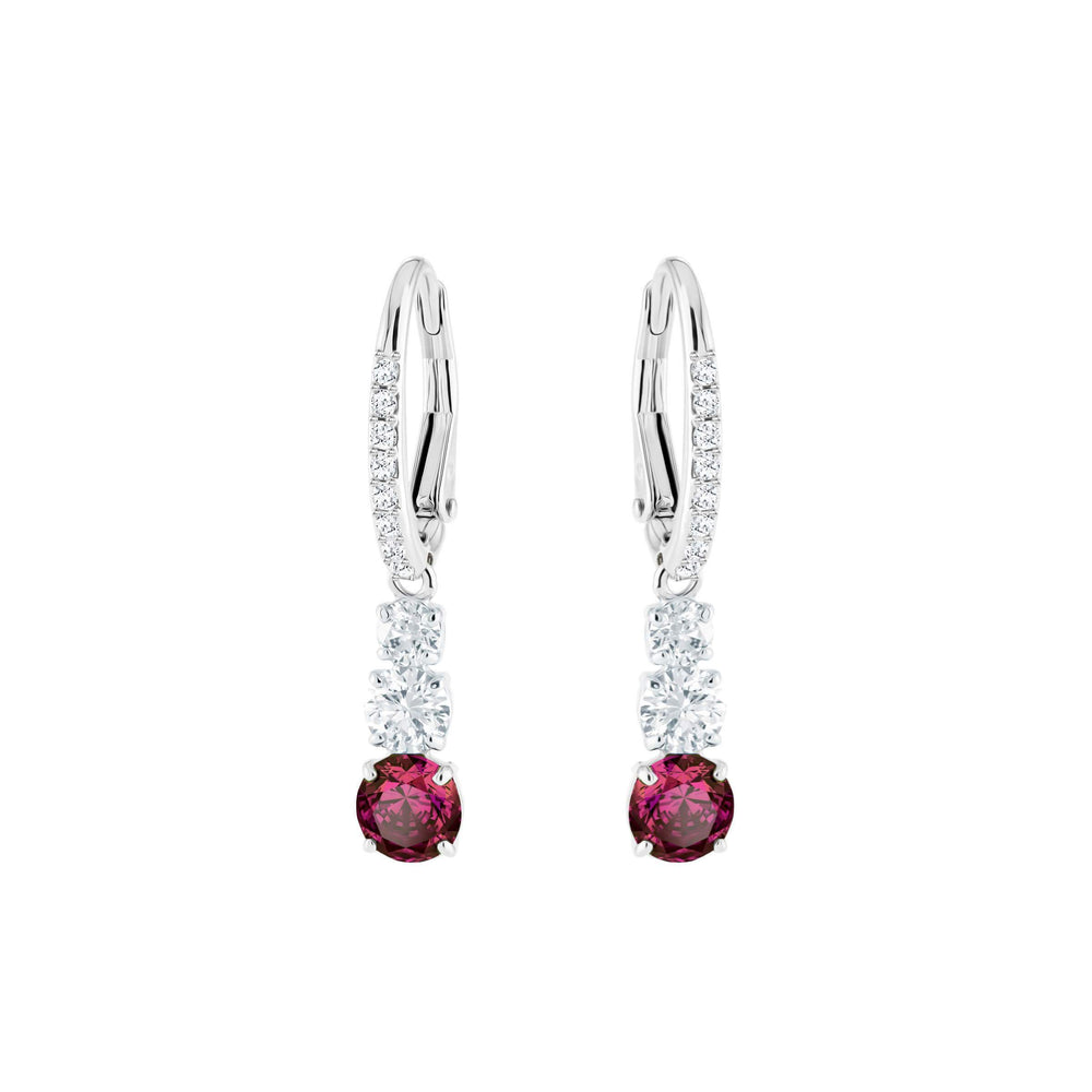 Swarovski Attract Trilogy Round Pierced Earrings, Red, Rhodium Plating