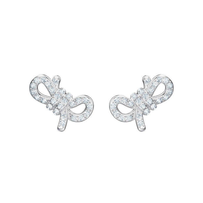 Swarovski Lifelong Bow Pierced Earrings, White, Rhodium plating