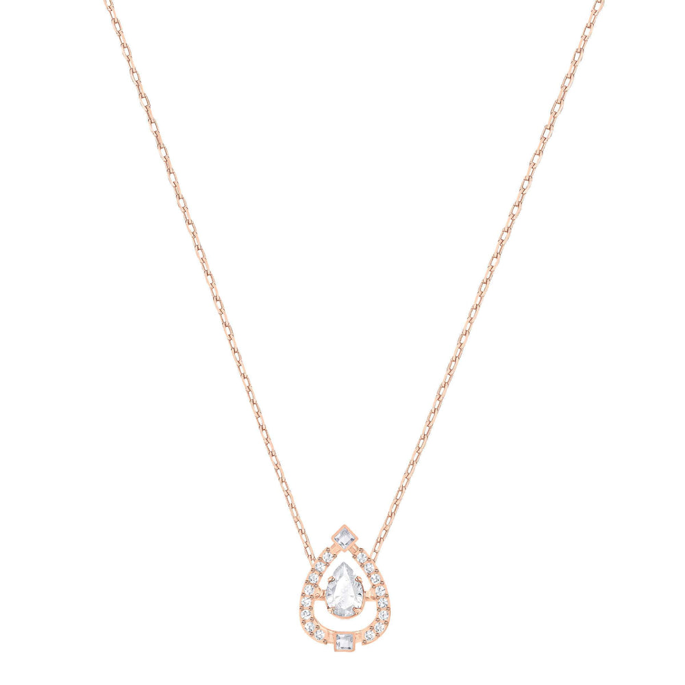 Swarovski Sparkling Dance Flower Necklace, White, Rose Gold Plating