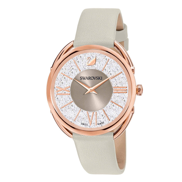 Swarovski Crystalline Glam Watch, Leather Strap, Gray, Rose gold tone