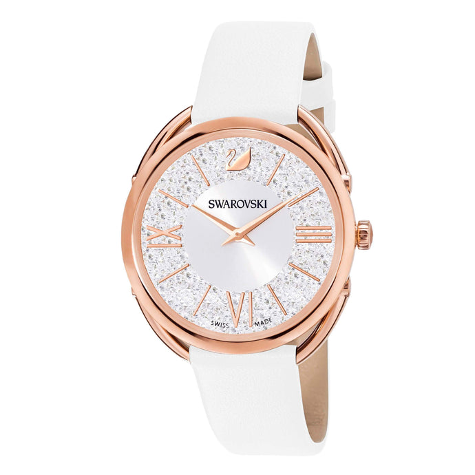 Swarovski Crystalline Glam Watch, Leather Strap, White, Rose gold tone