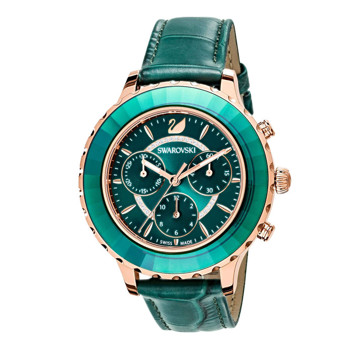 Swarovski Octea Lux Chrono Watch, Leather Strap, Green, Rose gold tone