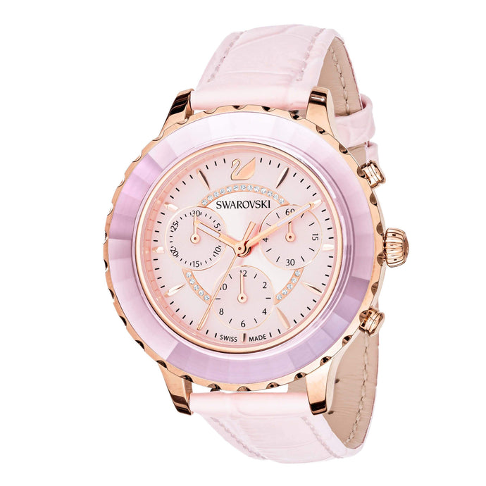 Swarovski Octea Lux Chrono Watch, Leather Strap, Pink, Rose gold tone