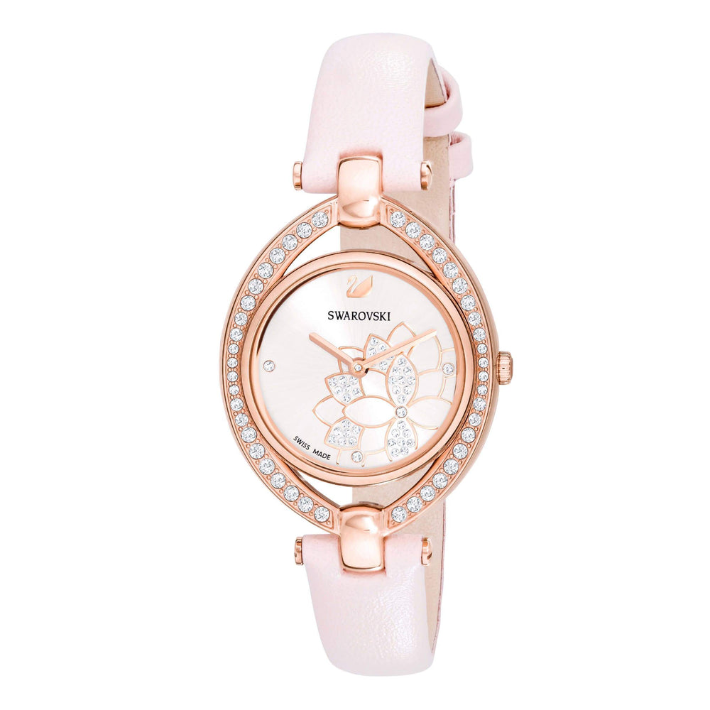 Swarovski Stella Watch, Leather Strap, Pink, Rose gold tone