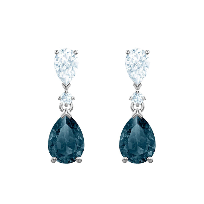Swarovski Vintage Pierced Earrings Pear, Blue, Rhodium plating