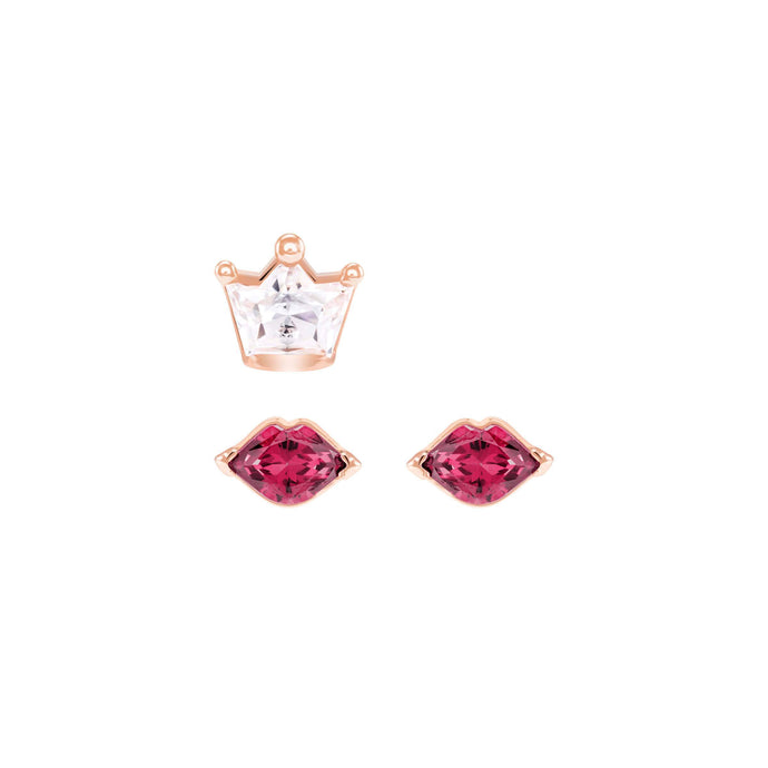Out of this World Kiss Pierced Earrings, Red, Mixed plating