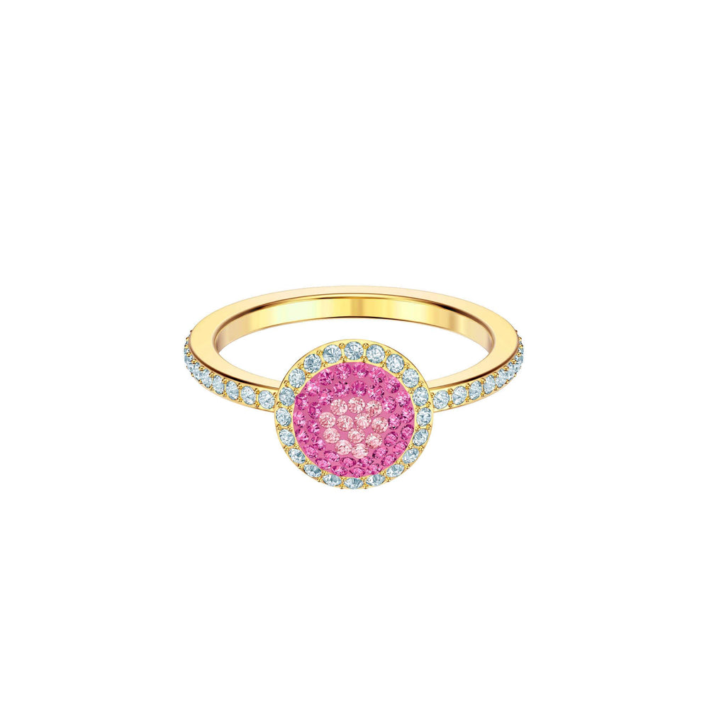 Swarovski No Regrets Ring, Round, Multi-colored, Gold plating