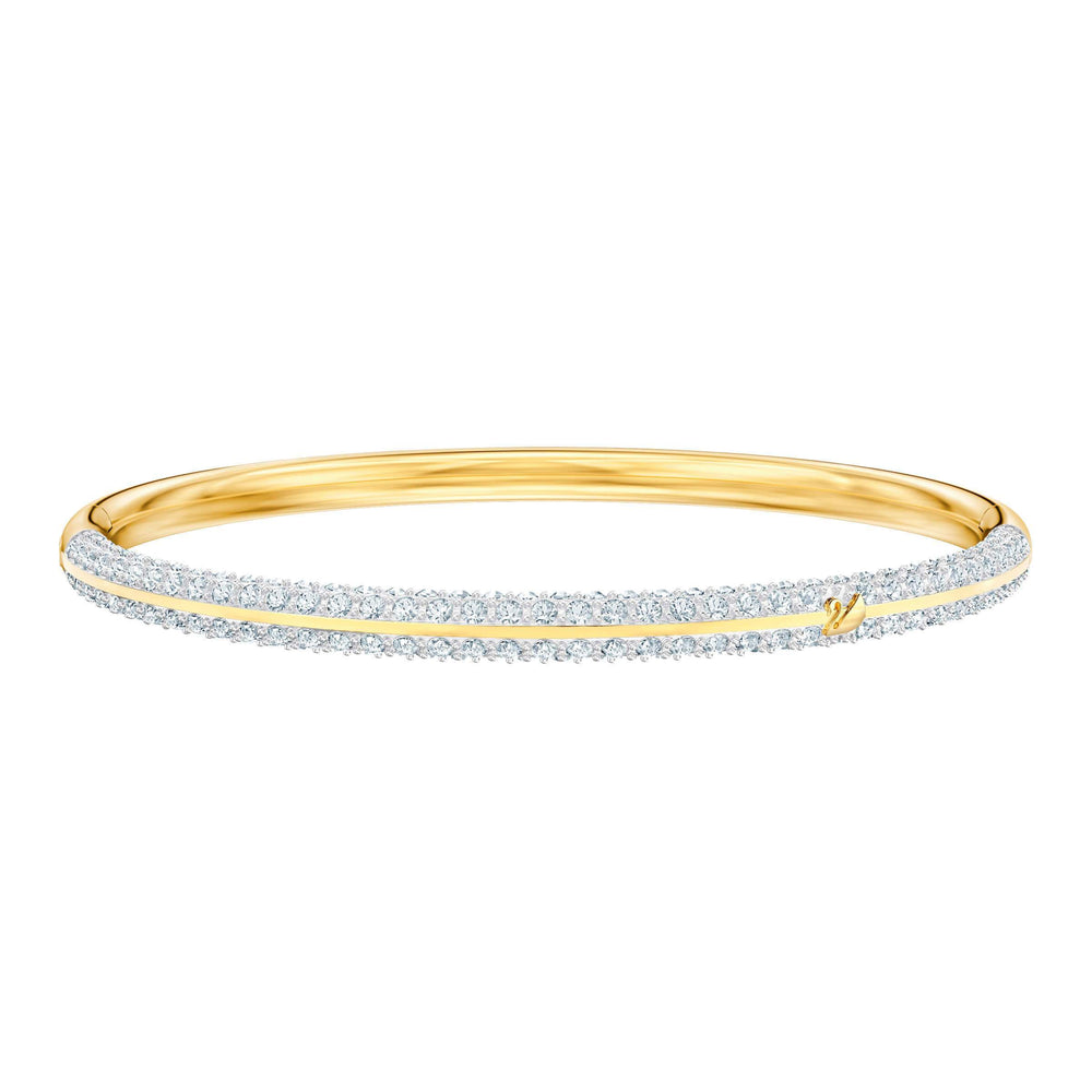 Swarovski Stone Bangle, White, Gold plating