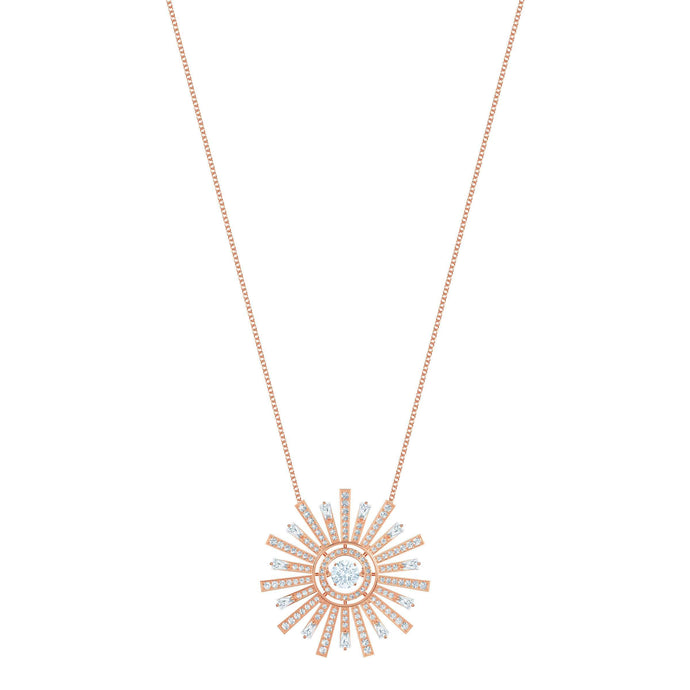 Swarovski Sunshine Necklace Long, White, Rose gold plating