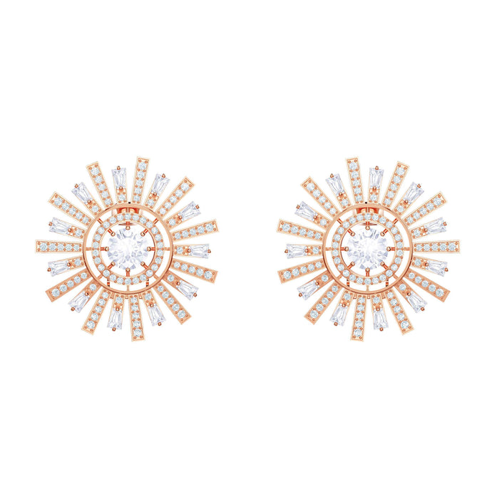 Swarovski Sunshine Clip Earrings, White, Rose gold plating