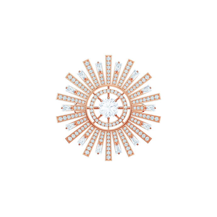 Swarovski Sunshine Brooch, White, Rose gold plating