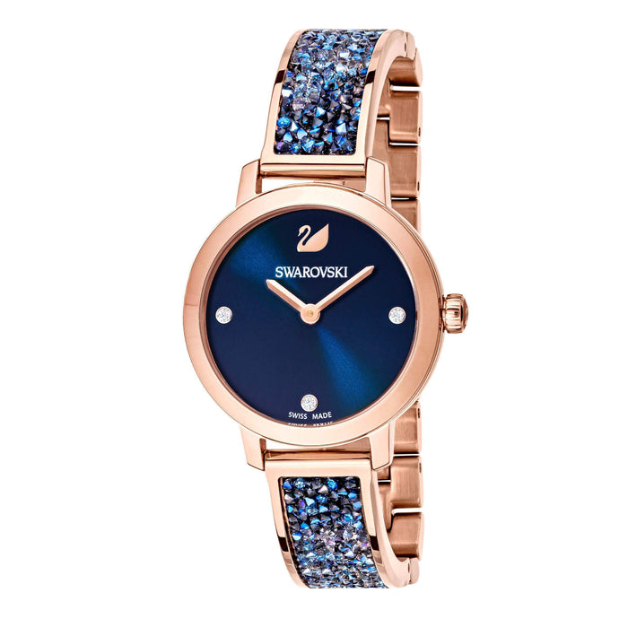 Swarovski Cosmic Rock Watch, Metal bracelet, Blue, Rose gold tone