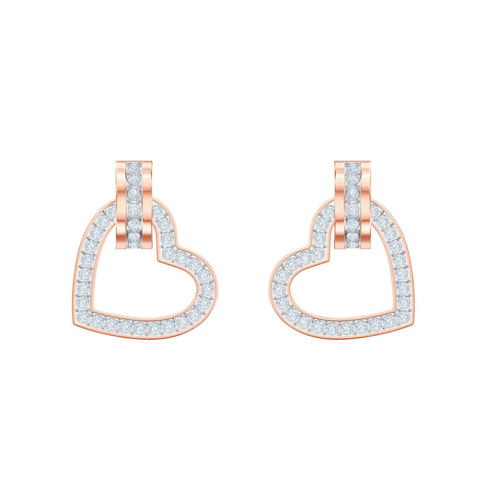 Lovely Pierced Earrings, White, Rose gold plating