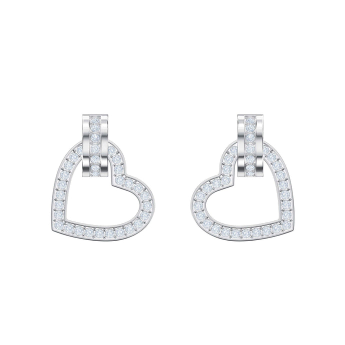 Lovely Pierced Earrings, White, Rhodium plating