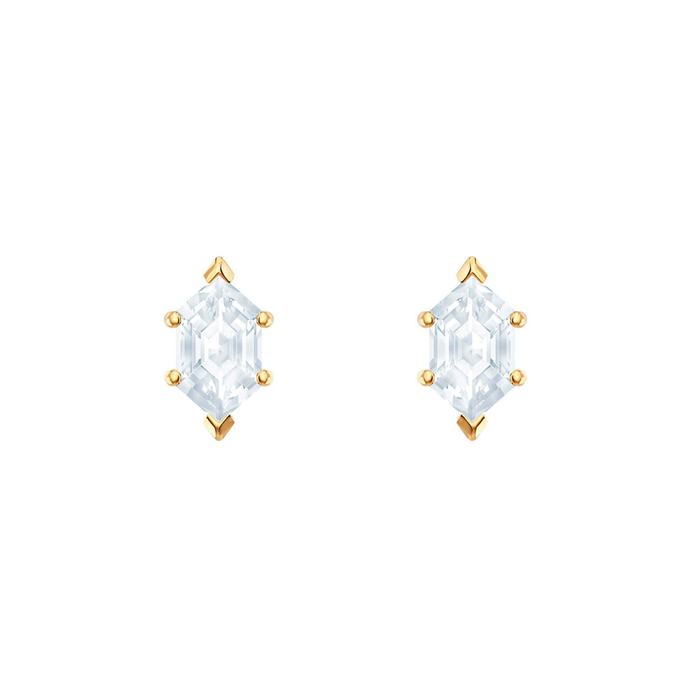 Oz Pierced Earrings, White, Gold plating