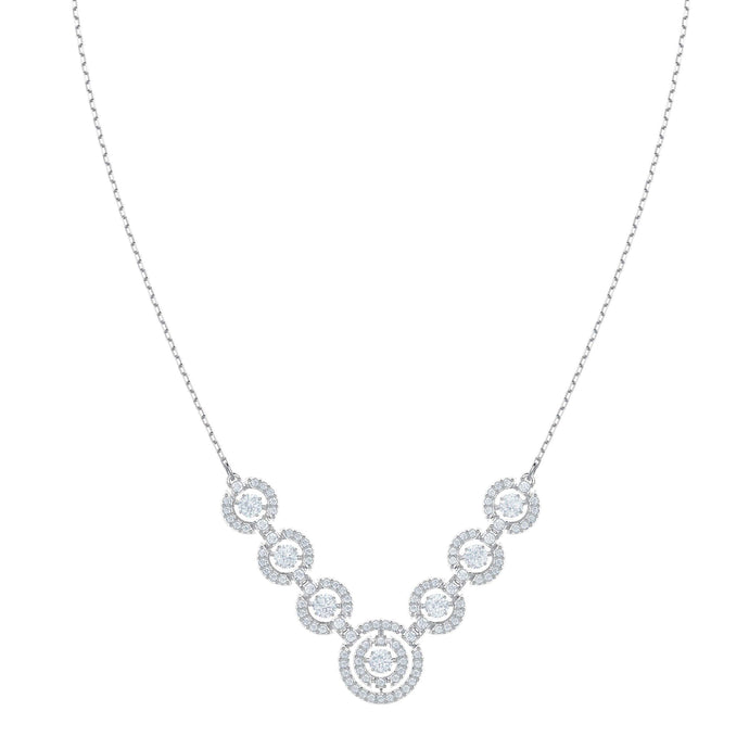 Sparkling Dance Necklace, White, Rhodium plating