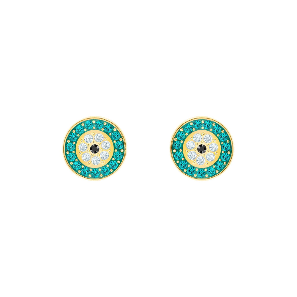 Swarovski Luckily Pierced Earrings, Multi-colored, Gold plating