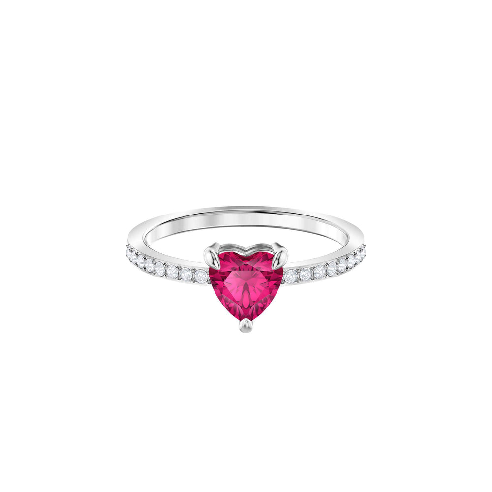 Swarovski One Ring Small, Red, Rhodium plating