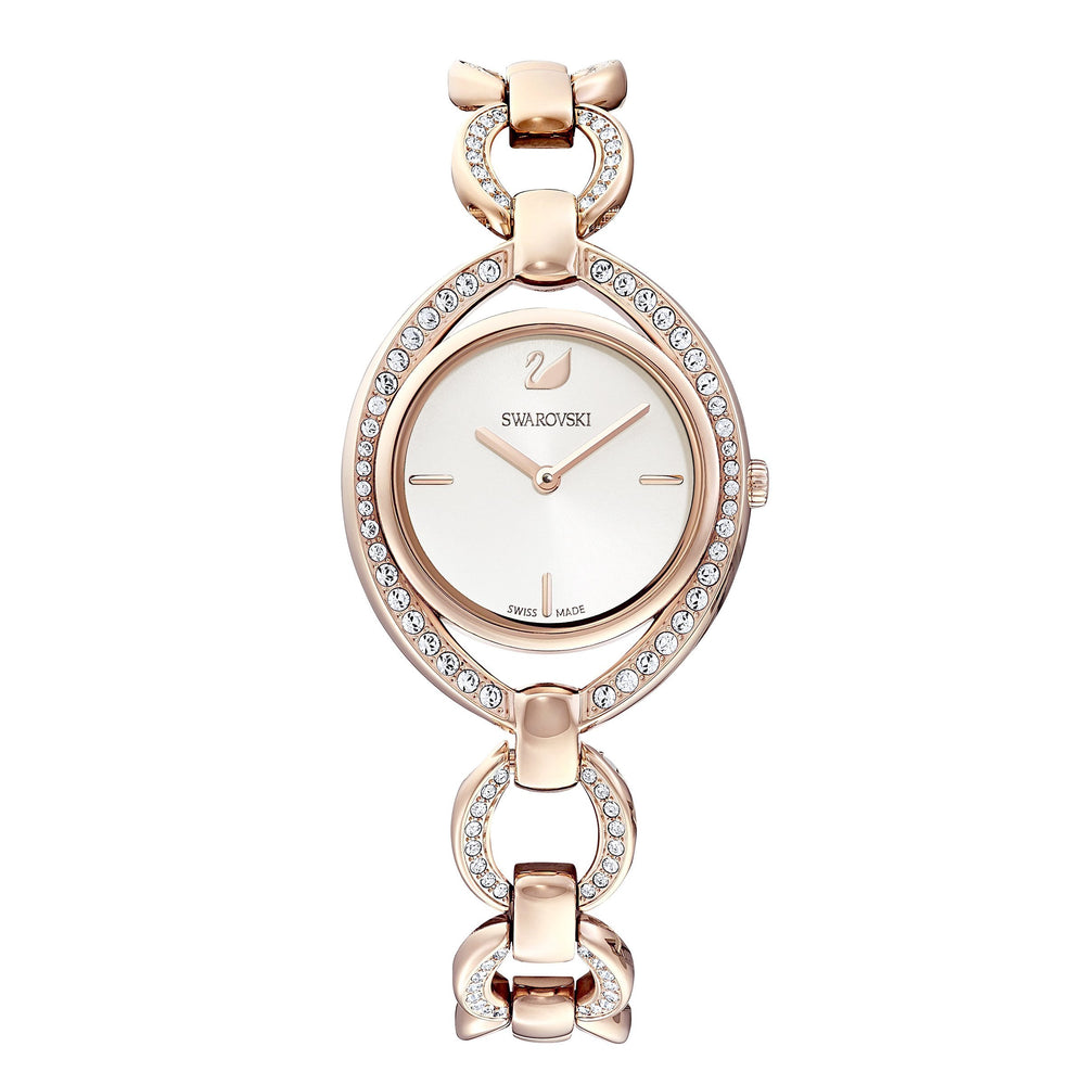 Swarovski Stella Watch, Metal bracelet, White, Rose-gold tone PVD