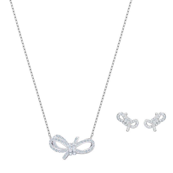 Swarovski Lifelong Bow Set, White, Rhodium plating
