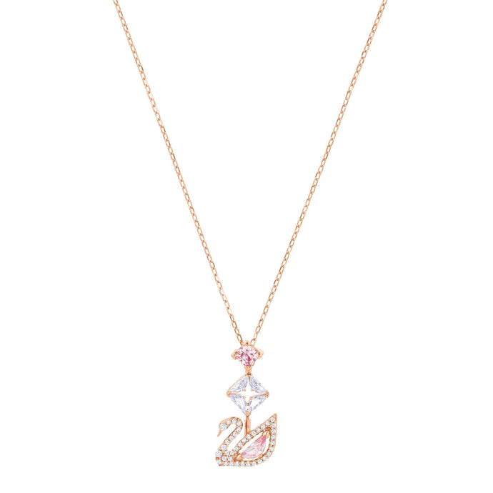 Swarovski Dazzling Swan Y Necklace, Multi-colored, Rose gold plating