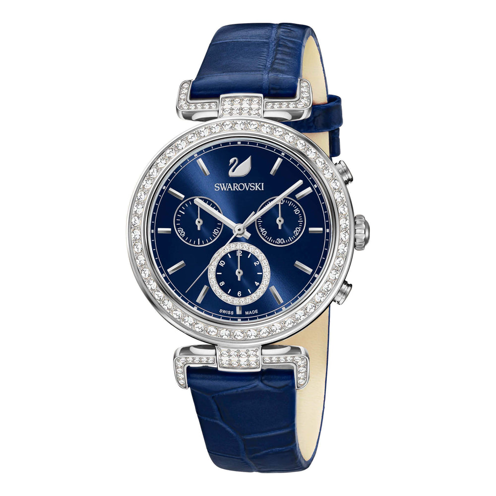 Swarovski Era Journey Watch, Leather strap, Blue, Silver tone
