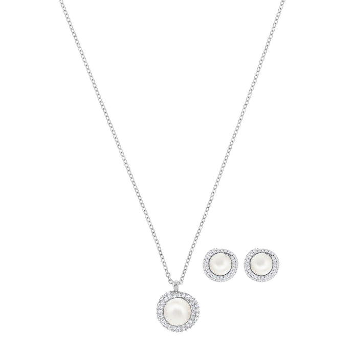 Swarovski Originally Set, White, Rhodium plating