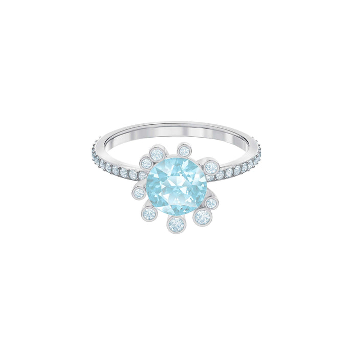 Olive Ring, Aqua, Rhodium plating