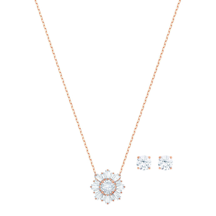 Swarovski Sunshine Set, White, Rose gold plating