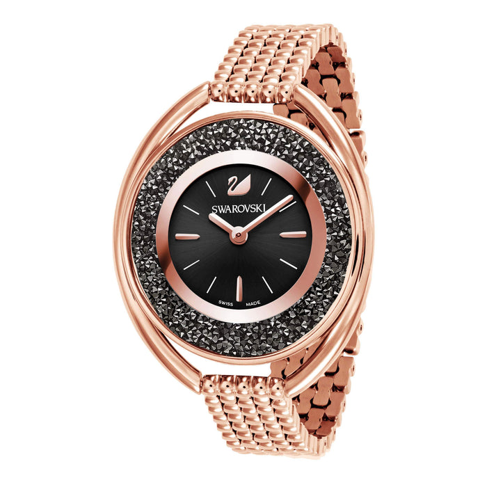 Crystalline Oval Watch, Metal bracelet, Black, Rose gold tone