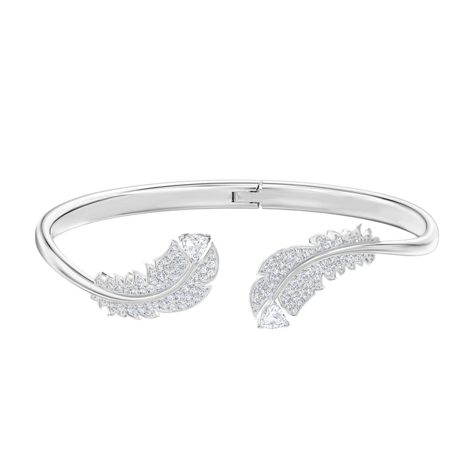 Swarovski Nice Bangle, White, Rhodium plated