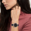 Load image into Gallery viewer, Swarovski Crystal Frost Watch, Leather Strap, Black, Rose-gold tone PVD