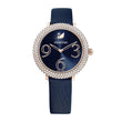 قم بتحميل الصورة في عارض الصور ، Swarovski Crystal Frost Watch, Leather Strap, Blue, Rose-gold tone PVD