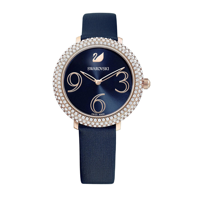 Swarovski Crystal Frost Watch, Leather Strap, Blue, Rose-gold tone PVD