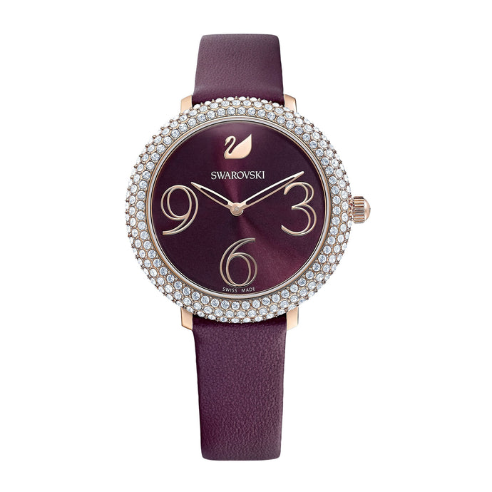 Swarovski Crystal Frost Watch, Leather Strap, Dark red, Rose-gold tone PVD