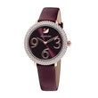 قم بتحميل الصورة في عارض الصور ، Swarovski Crystal Frost Watch, Leather Strap, Dark red, Rose-gold tone PVD