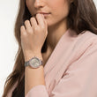 Load image into Gallery viewer, Swarovski Crystal Frost Watch, Leather Strap, Gray, Rose-gold tone PVD