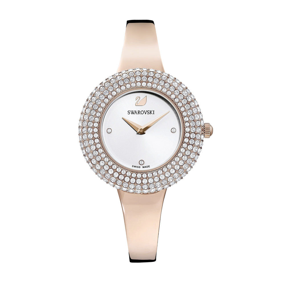 Swarovski Crystal Rose Watch, Metal Bracelet, White, Rose-gold tone PVD