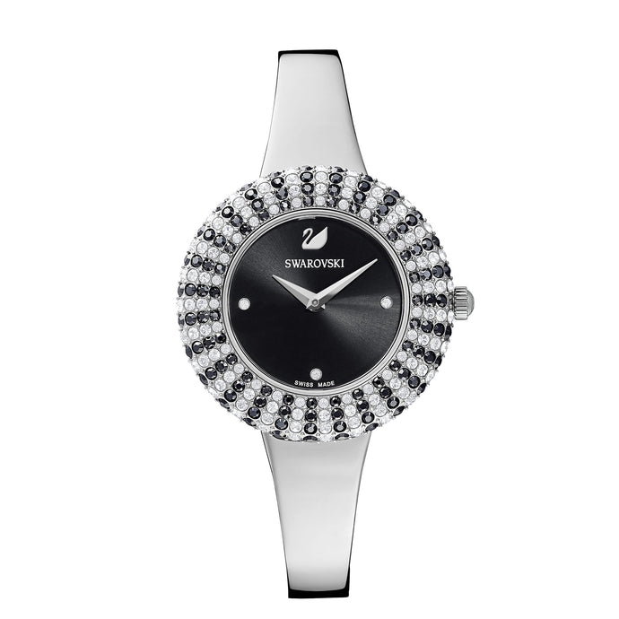 Swarovski Crystal Rose Watch, Metal Bracelet, Black, Stainless Steel