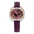 Swarovski Duo Watch, Leather Strap, Dark red, Rose-gold tone PVD