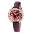 قم بتحميل الصورة في عارض الصور ، Swarovski Duo Watch, Leather Strap, Dark red, Rose-gold tone PVD