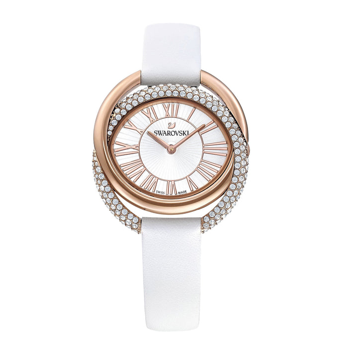 Swarovski Duo Watch, Leather Strap, White, Rose-gold tone PVD